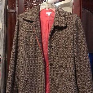 Brown patterned women's pea coat
